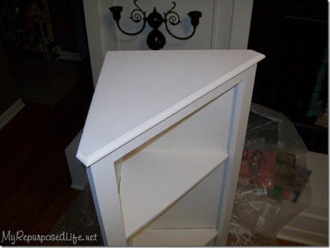 white DIY Corner cabinet