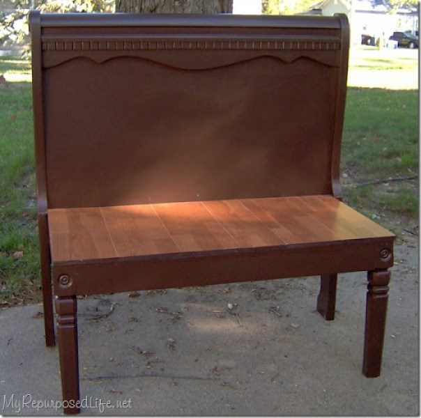 sleigh bed into bench