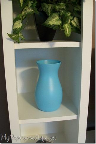 aqua spray painted vase