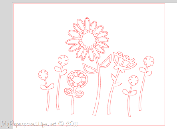 silhouette design with daisies