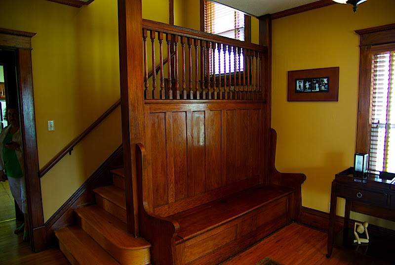 The entry way/foyer - it has a large oak bench with storage underneath.