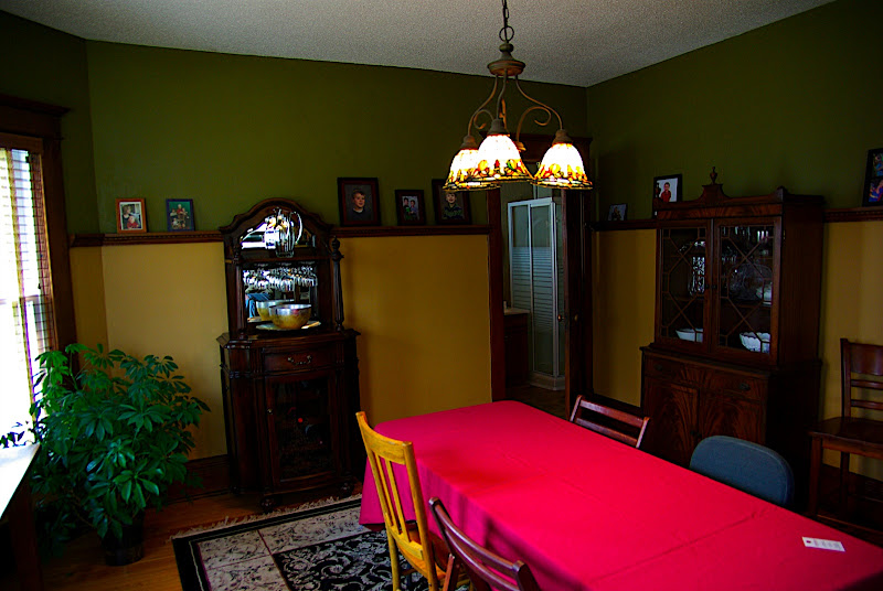 Another view of the dining room - you can see the 3/4 bath in the corner.  This is where the old back porch used to be.