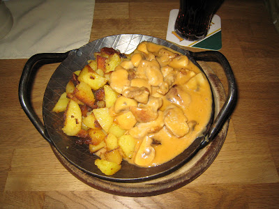 Pork with mushroom sauce and fried potatoes