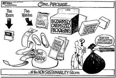 Shopping Unsustainably cartoon
