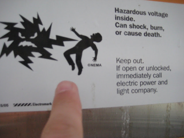 Someone had fun illustrating the dangers of electricity.