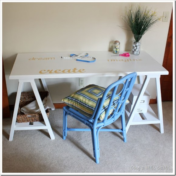 sawhorse desk using an old door
