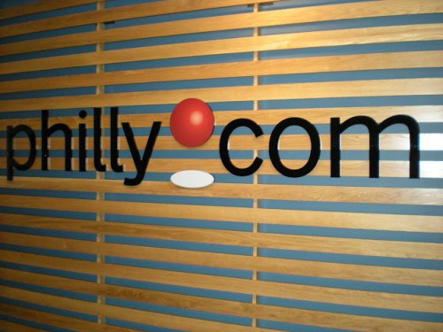 The Philly.com icon that welcomes you to their headquarters on the 35th floor of 1601 Market Street in Center City Philadelphia.
