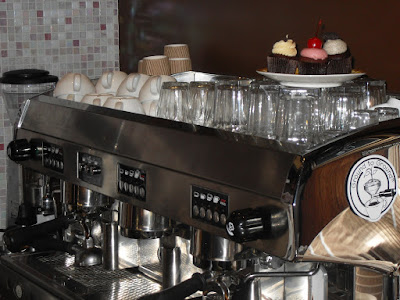 The espresso machine at Little Cupcakes