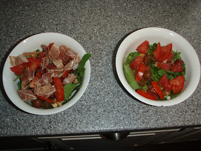 Two Lunch Salads. One with Meat.