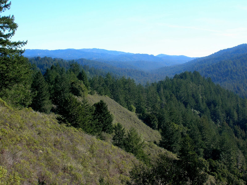 View from L to R of Castle Rock SP, Pescadero Creek, and Mount Ellen