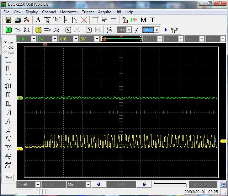 The channel #1 has the signal (a sine wave) catched by the coil before any amplification. The channel #2 shows the signal after amplification. Also, the amplifier modify the signal to a square wave.