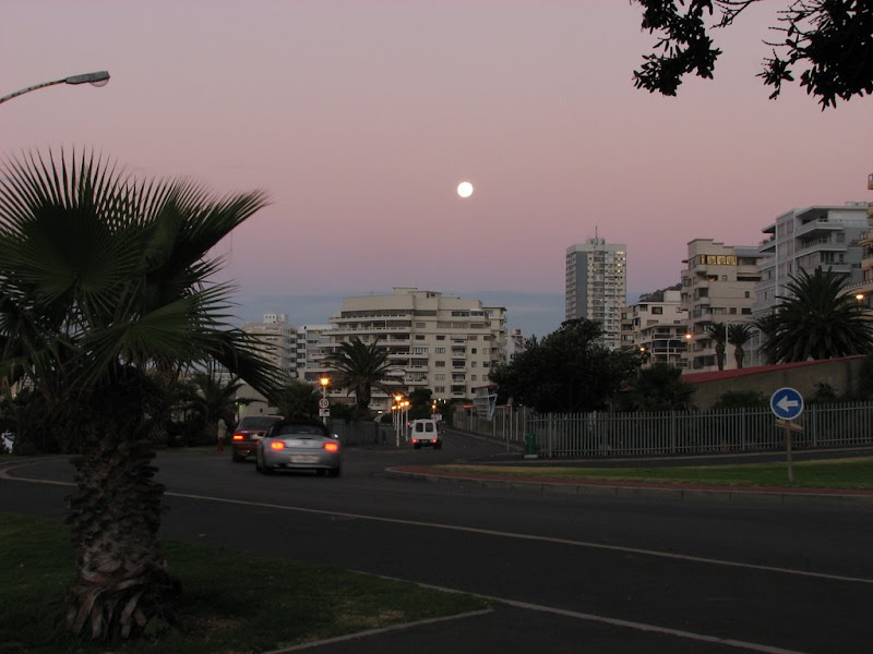An almost full moon above the skyscrapers of Green Point