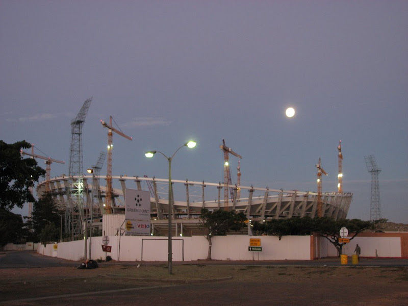 The moon above Green Point stadium