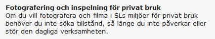 Regelverg för privat fotografering i SL:s miljö