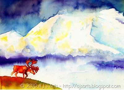 Watercolor Moose001