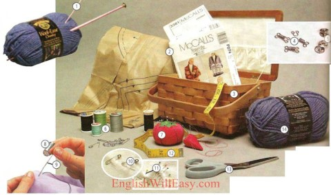 Fabrics, sewing, knitting - Clothes, Fashion - Picture Dictionary