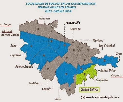 Mapa de reportes de tinguas azules