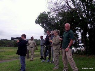 Italian Guests Enjoying the Sight of Elephant in the Bush