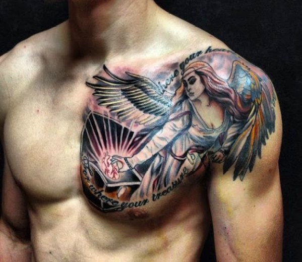 angel chest tattoos for men