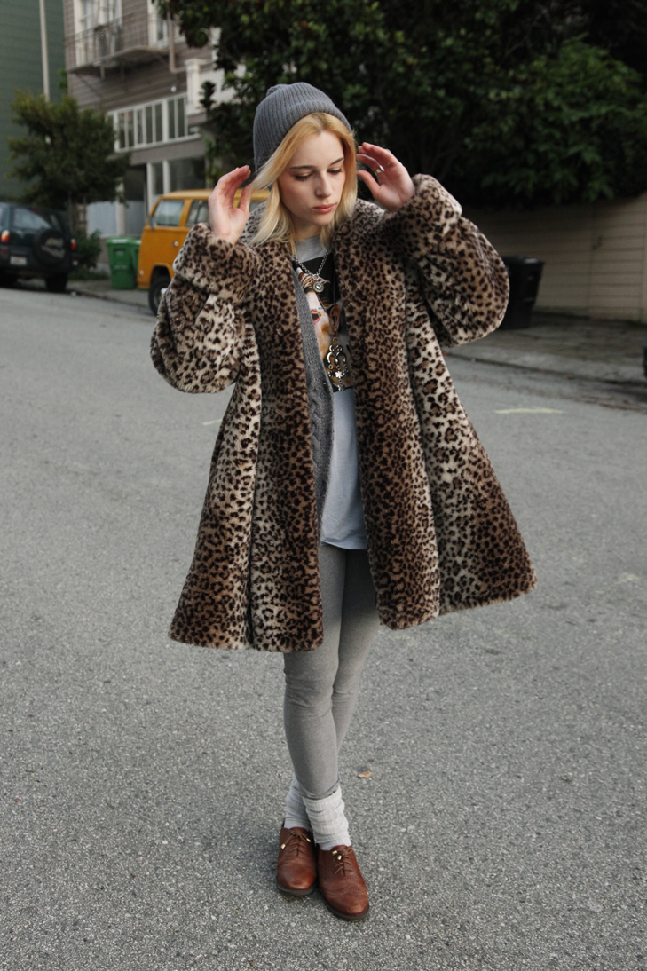 Clothed Chameleon by Severine Arend  Getting my Spots leopard coat  Monterey fashions on Ebay  sweater  H M  David Bowie shirt   Urban Outfitters  leggings  H M  socks  American Apparel  Wingtip oxford  shoes