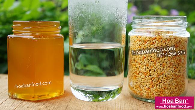 cách dùng phấn hoa ong với mật ong, nước ấm
