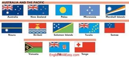 أستراليا y el Pacífico أستراليا، Nueva Zelanda، Palau، Micronesia، Islas Marshall، Nauru، Kiribati، Islas Salomón، Tuvalu، Samoa، Vanuatu، Fiji، Tonga
