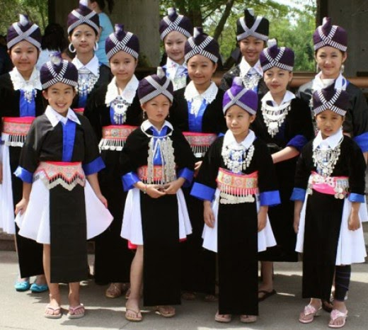 Girls in traditional Hmong dress.