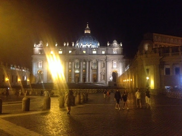 Vatican city outside the Cistine Chapel at night