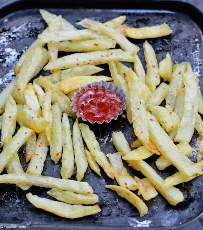 "Baked French Fries Recipe | Best Crispy Oven ""Fries"" recipe written by Kavitha Ramaswamy of Foodomania.com"