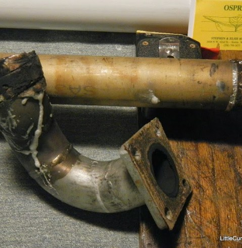 This is the exhaust riser after our September trip to the San Juans and Gulf Islands