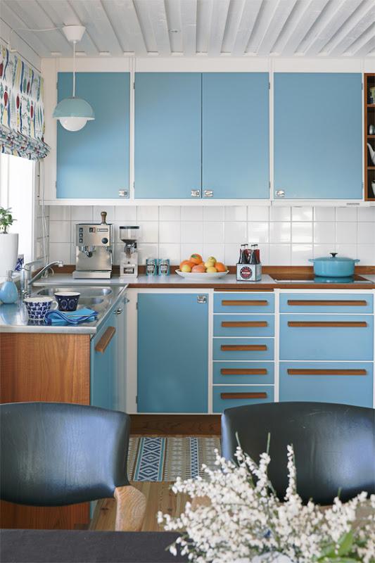 Cocina azul.