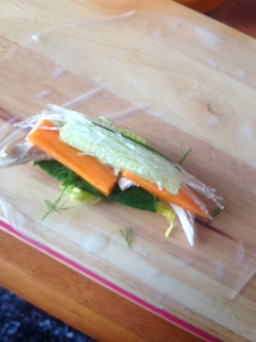 Crudite rolled into rice paper for Vietnamese summer rolls