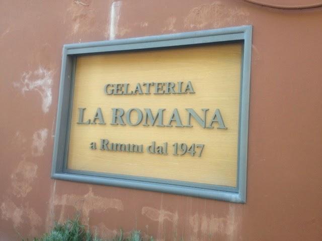 The sign of Gelateria La Romana ice cream parlour