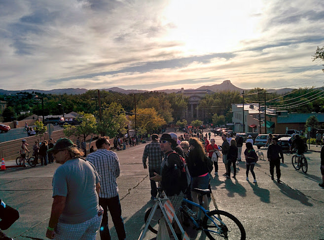 The fat tire 'crit' around downtown Prescott. Thumb Butte in the background