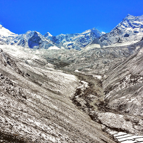 Snow covered valley near Dingboche, Nepal.