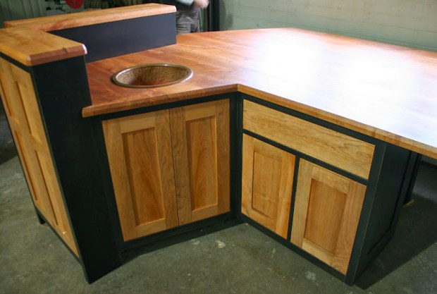 Wood counter and custom finish set this island apart