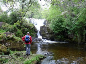On a day when the forecast was not too good we decided to walk some of the lower fells ... so we met near Aira Force with the intention of walking to Gowbarrow Fell and hopefully beyond (depending on the weather). This is Aira Force ... David looks on to one of the higher falls.