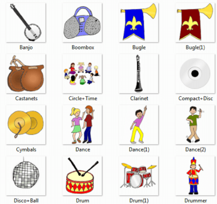 Music Pictures for Classroom and Therapy Use