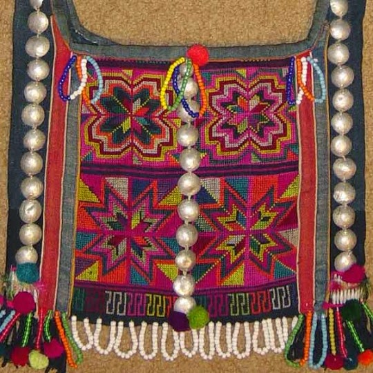 Hani embroidered and trimmed bag, Menghai county, Yunnan province, southwest China