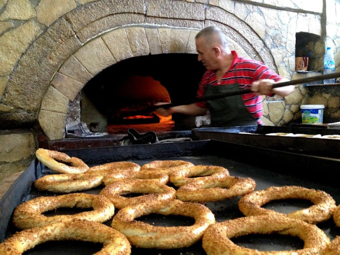 Simit, or Turkish bagel, best when it's warm