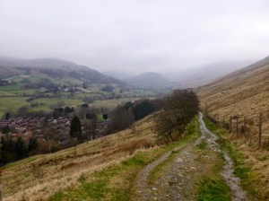 A misty morning looking towards Troutbeck Tongue in the distance