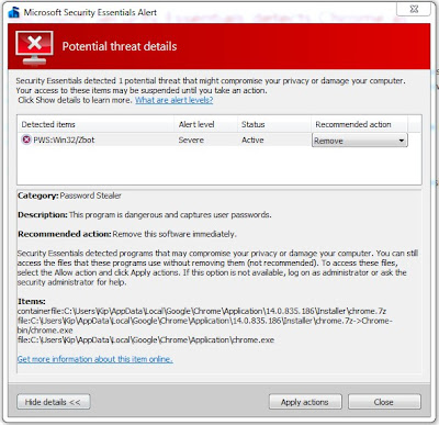 Microsoft Security Essentials detects Chrome as malware