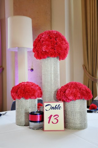 pink bling centerpieces