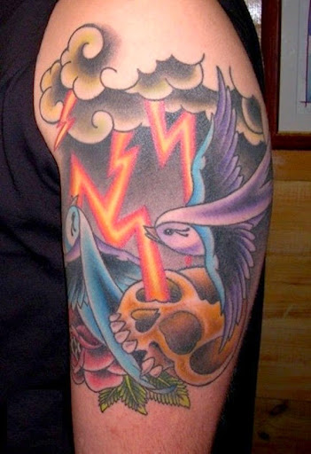 Cloud tattoos thunder and lightning and birds