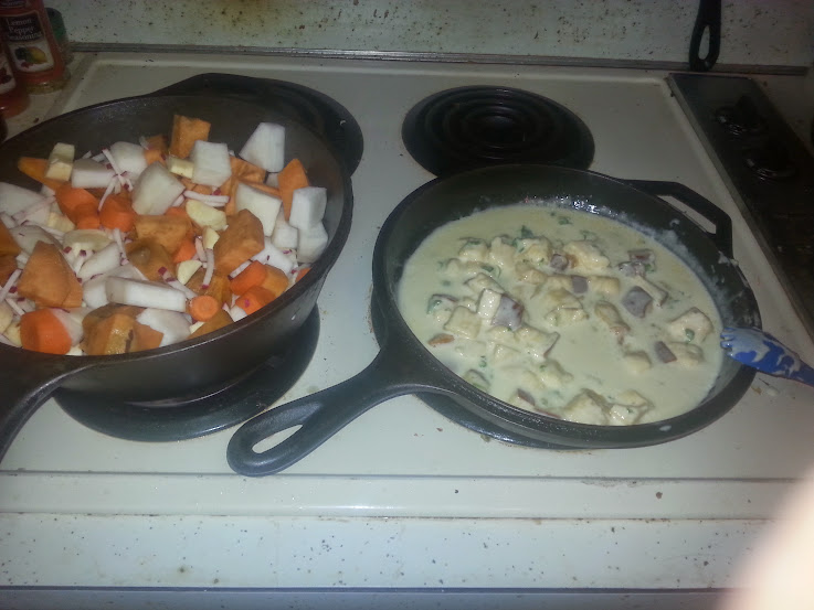Root veggies au gratin and bacon wrpped tilapia  (4/6)