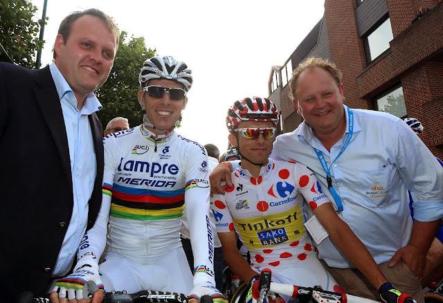 Bjorn Gevaert, Rui Costa, Rafal Majka en Filip Beerland