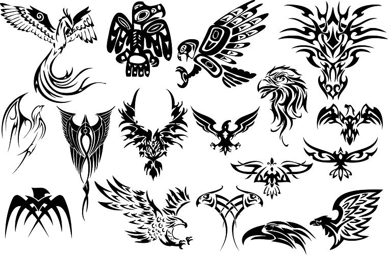black tribal birds tattoos
