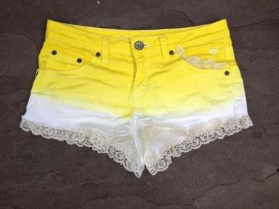 WARDROBE STAPLE: Ombre Shorts | Yellow Ombre Shorts with Lace