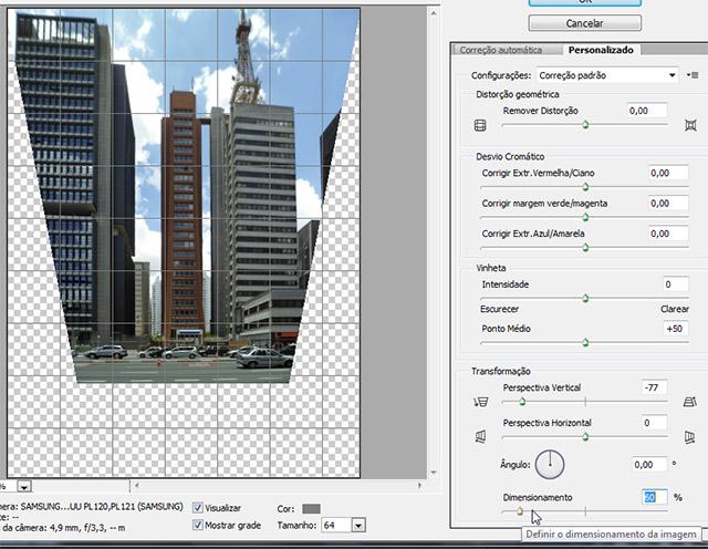 Ajustando o dimensionamento da imagem após a correção de perspectiva