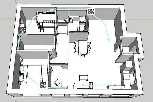 passive house ventilation with computer